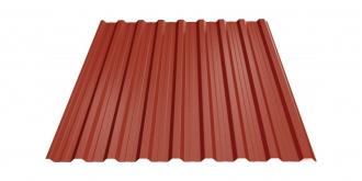 Profiliuotas cinkuoto plieno lakštas T18, dengtas poliesteriu,  RAL 3009 (molio raudonumo spalva)