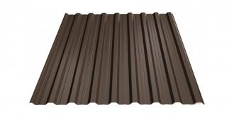 Profiliuotas cinkuoto plieno lakštas T18, dengtas poliesteriu,  RAL 8019 (tamsiai ruda spalva)