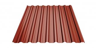 Profiliuotas cinkuoto plieno lakštas T18, dengtas poliesteriu,  RAL 3011 (raudona spalva)