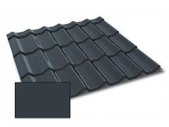 Profiliuotas cinkuoto plieno lakštas, čerpių imitacija Kingas Eco Plus profilis, dengtas poliesteriu,  RAL 7016 (tamsiai pilka spalva)