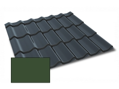Profiliuotas cinkuoto plieno lakštas, čerpių imitacija Kingas Eco Plus profilis, dengtas poliesteriu,  RAL 3005 (vyšninė spalva)