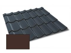Profiliuotas cinkuoto plieno lakštas, čerpių imitacija Kingas Eco Plus profilis, dengtas poliesteriu,  RAL 8017 (šokoladinė spalva)