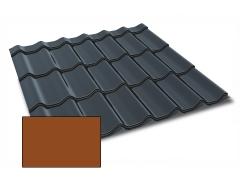 Profiliuotas cinkuoto plieno lakštas, čerpių imitacija Kingas Eco Plus profilis, dengtas poliesteriu,  RAL 8004 (molio spalva)