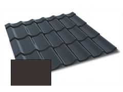 Profiliuotas cinkuoto plieno lakštas, čerpių imitacija Kingas Eco Plus profilis, dengtas poliesteriu,  RAL 8019 (tamsiai ruda spalva)