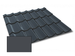 Profiliuotas cinkuoto plieno lakštas, čerpių imitacija Kingas Eco Plus profilis, dengtas poliesteriu,  RAL 7024 (pilka spalva)
