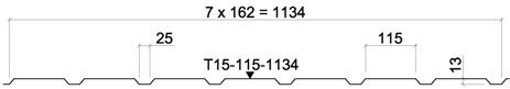 Žemo profilio lakštas T15-115(25)-1134 kaina