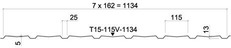 Žemo profilio lakštas T15-115V-1134 kaina