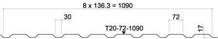 Žemo profilio lakštas T20-72(30)-1090 kaina